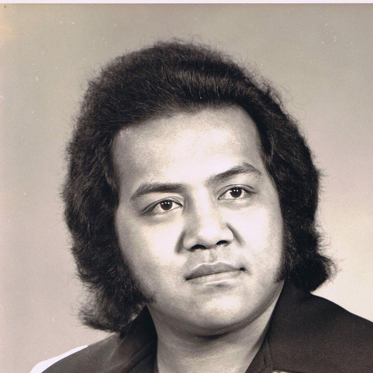 Black and white image of Pulefano Galeai
