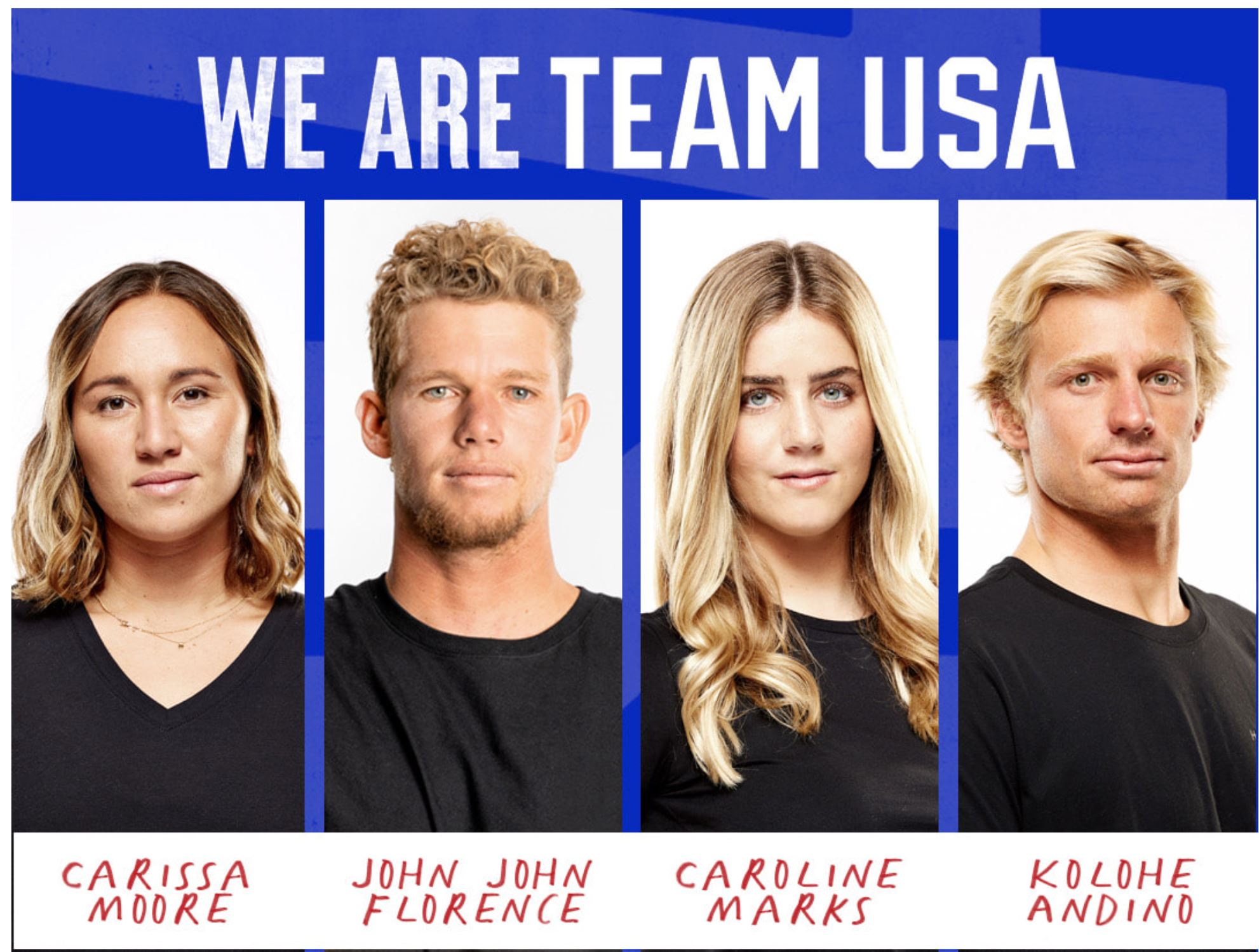 four side by side photos showing the four members of the 2020 Summer Olympic Surf Team