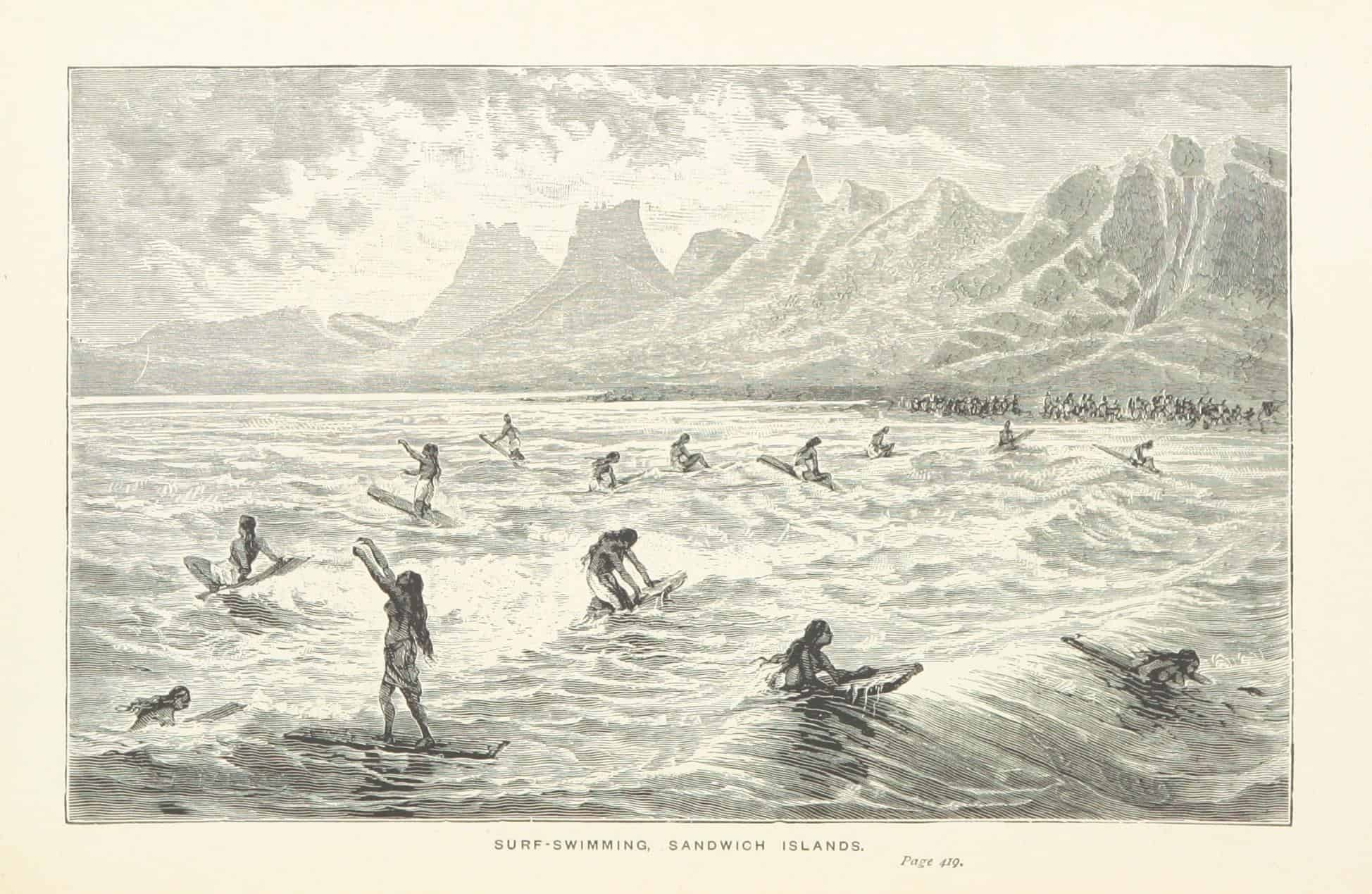 pencil drawing entitled surf-swimming Sandwich Islands showing 14 women surfers from from the 1800s catching waves while a large crowd watches from shore in Hawaii