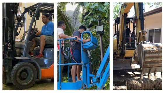collage of Tyrone learning how to operate equipment