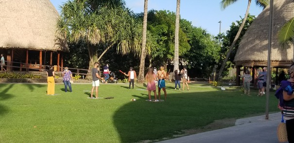 Pic 9 guests properly distanced in samoa with the use of well placed hula hoops on the ground