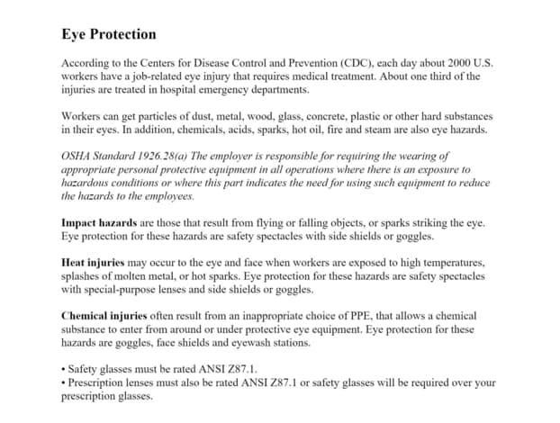 Eye Protection article